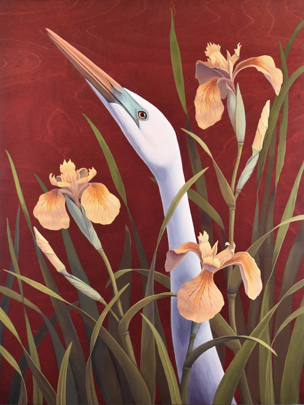 Egret and Irises - 18x24 - Acrylic on Birch23